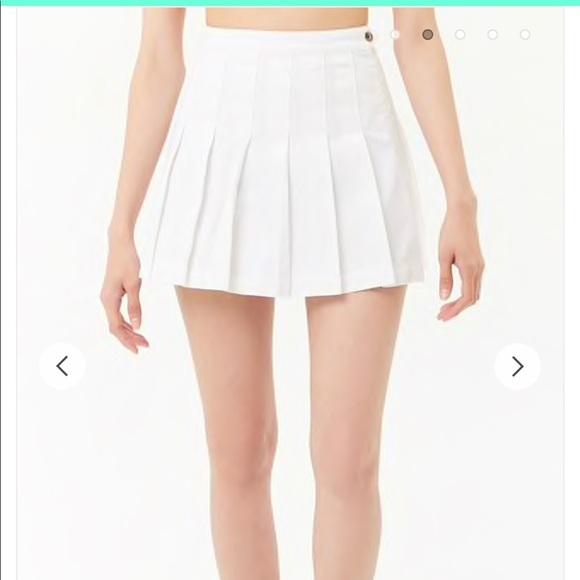 29b180f305 Forever 21 Skirts | White Denim Pleated Skirt | Poshmark